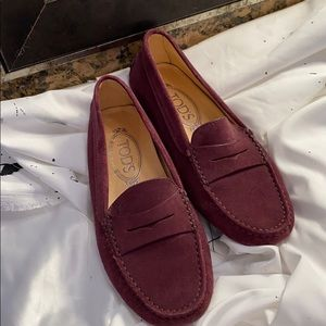 Maroon Suede Tod's Driving Shoes